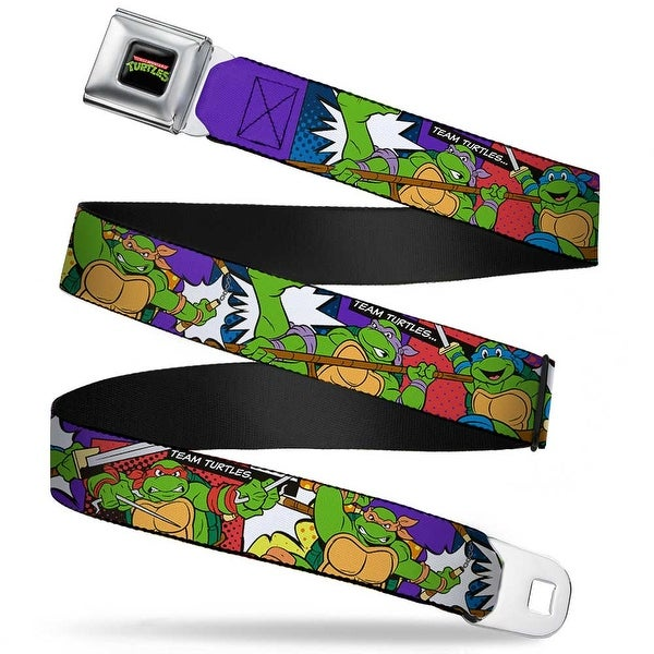 Classic Tmnt Logo Full Color Classic Tmnt Action Poses Team Turtles Webbing Seatbelt Belt