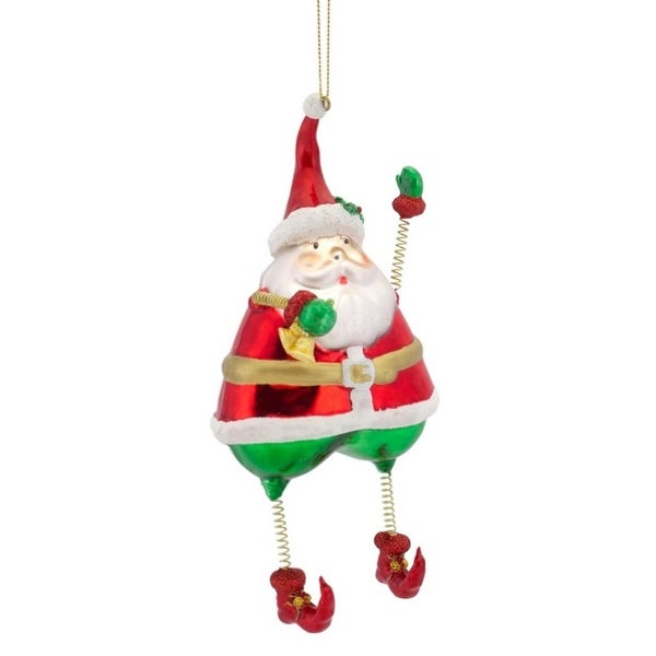 "Pack of 8 Santa Claus with Springy Arms and Bell Glass Christmas Ornaments 7.25"" - RED"