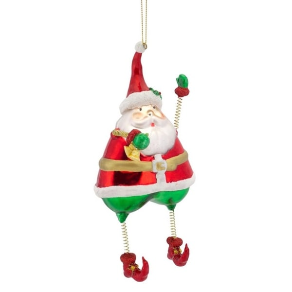 Pack of 8 Santa Claus with Springy Arms and Bell Glass Christmas Ornaments 7.25""