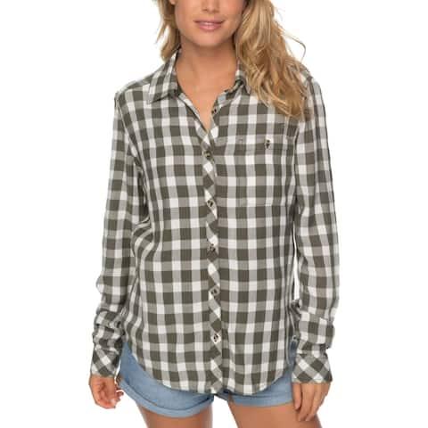 Roxy Green Women's Size Medium M Plaid Print Boyfriend Shirt