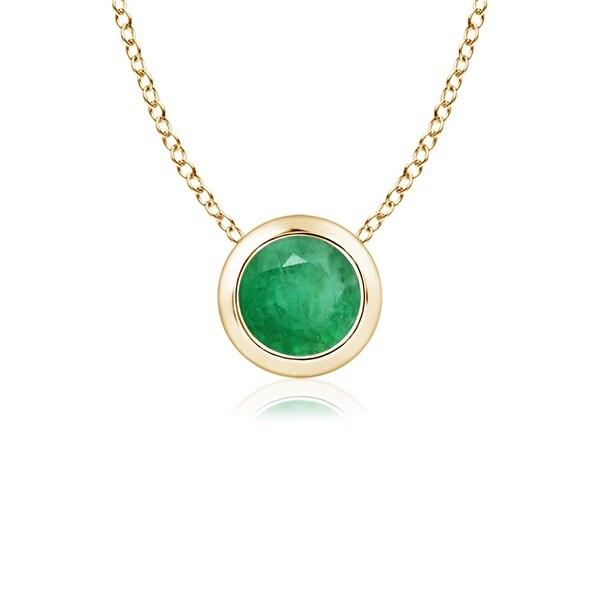 Angara 4mm Bezel Set Round Emerald Solitaire Pendant