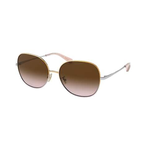 Coach HC7108 933713 57 Shiny Gold/silver/light Purple Woman Round Sunglasses - Gold / Silver / Purple