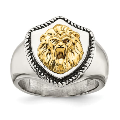 Chisel Stainless Steel with 14K Yellow Gold Accent Antiqued and Polished Lion on Shield Ring