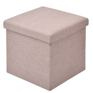 Gymax Folding Storage Square Ottoman Seat Stool Box Footrest Home Furni Decor Beige