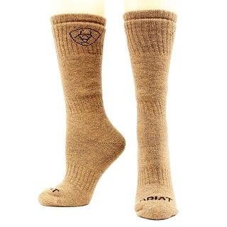 Ariat Mens Boot Socks Merino Wool Hunting 2 pack L Brown
