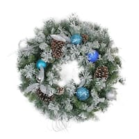 """24"""" Teal and Silver Ball Flocked with Pine Cones Artificial Christmas Wreath - Unlit"""