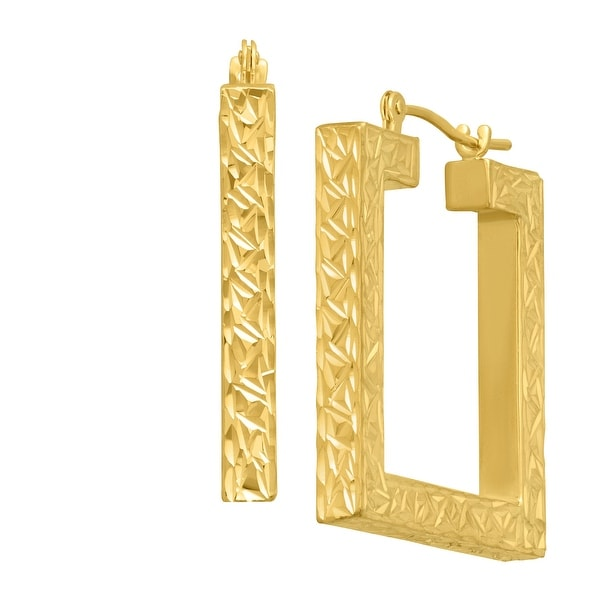 Eternity Gold Textured Open Square Hoops Earrings in 14K Gold - YELLOW
