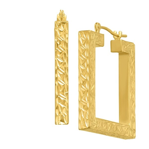 Just Gold Textured Open Square Hoops Earrings in 14K Gold - YELLOW