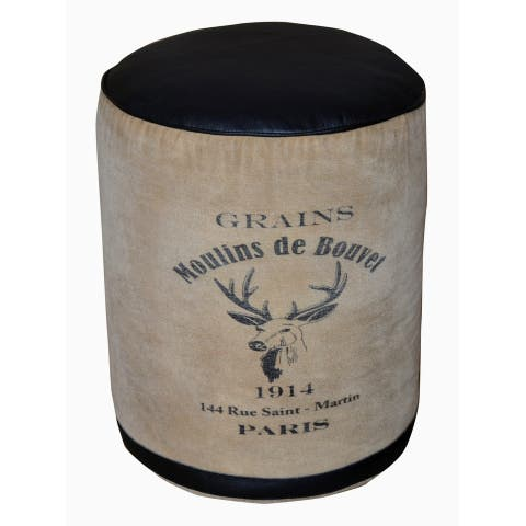 Round Canvas and Black Leather Pouf CHATEAUX adorned with French Logo.