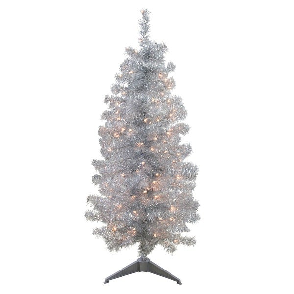 4 X 22 Pre Lit Slim Silver Artificial Tinsel Christmas Tree Clear Lights 3 To 6 Feet