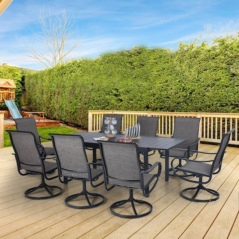 MFSTUDIO 7/9-Piece Patio Dining Furniture Set with 6 Sling Dining Swivel Chairs and 1 Expandable Outdoor Dining Rectangle Table