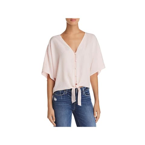 Paige Womens Baylee Blouse Striped Tie Front