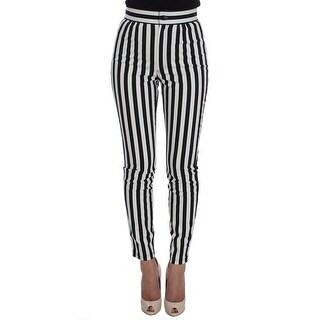Dolce & Gabbana Black White Striped Cotton Stretch Jeans - it36-xs