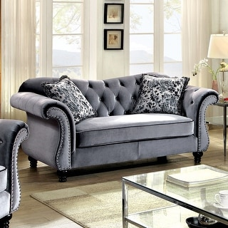Link to Furniture of America Tese Traditional Purple Fabric Nailhead Loveseat Similar Items in Living Room Furniture