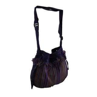 Purple Stripe Fringed Cotton Tapestry Crossbody Bag