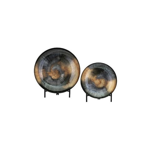 """Set of 2 Smoky Black and Brown Round Shape Acotas Glass Chargers with Stand 19.75"""""""