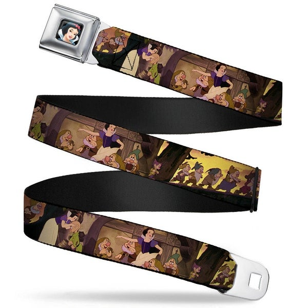 Snow White Full Color Black Snow White & The Seven Dwarfs Scenes Webbing Seatbelt Belt