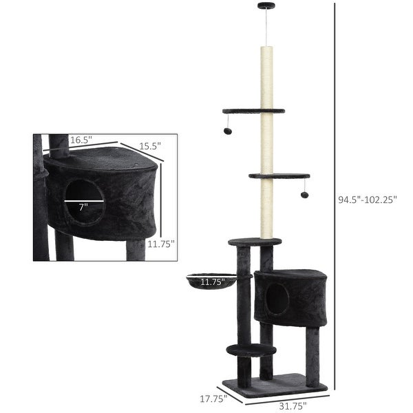 PawHut Adjustable Height Floor-To-Ceiling Vertical Cat Tree with Carpet Platforms, Condo & Rope Scratching Areas, Grey