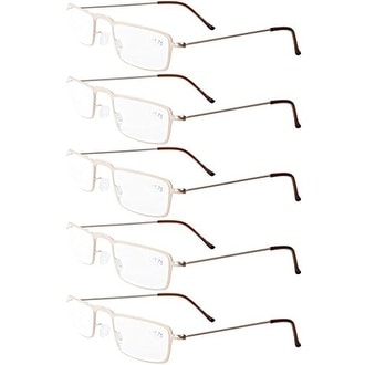 3bc9e331a35 Eyekepper 5-Pack Stainless Steel Frame Half-eye Style Reading Glasses Gold  +3.0