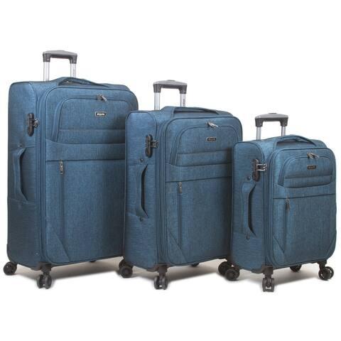 Denim 3-Piece Softside Spinner Expandable Luggage Set..