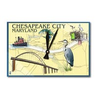 Chesapeake City, MD - Nautical Chart - LP Artwork (Acrylic Wall Clock) - acrylic wall clock