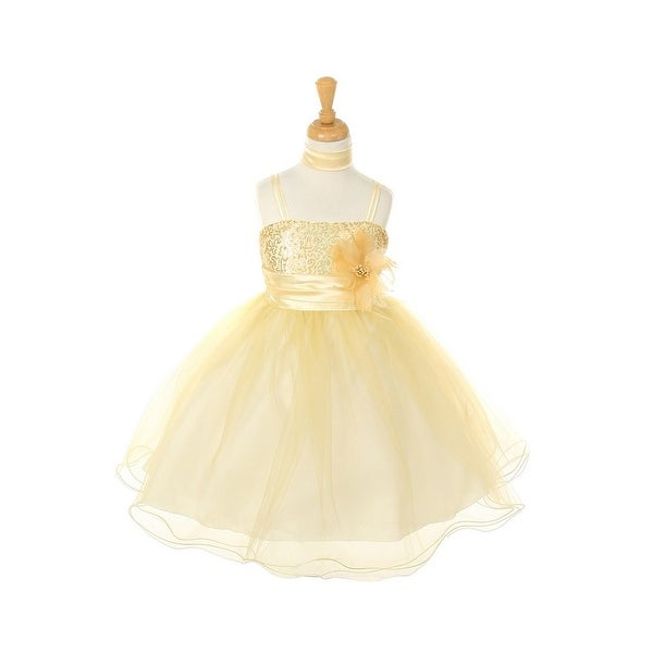d20a6bb12fc Shop Cinderella Couture Girls Gold Corsage Scarf Easter Occasion Dress 8-14  - Free Shipping Today - Overstock - 18166896
