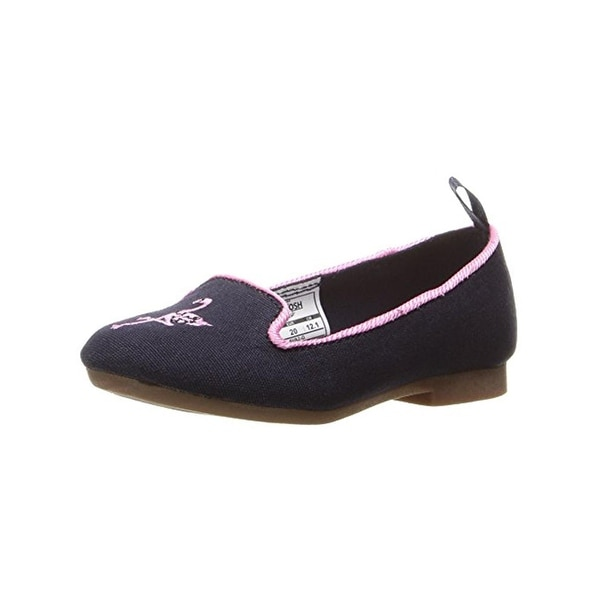 OshKosh B'Gosh Girls Ava Smoking Loafers Embroidered Flamingo