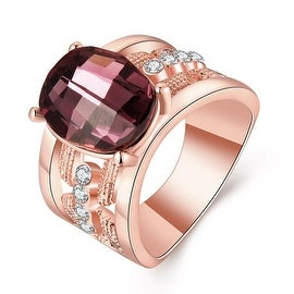 Rose Gold Plated Lavender Citrine Jewels Lining Ring