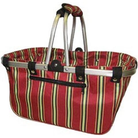 """18""""X10""""X9.5"""" Red Stripes - Janetbasket Large Aluminum Frame Basket"""
