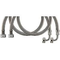 Certified Appliance Wm48Ssl2Pk Braided Stainless Steel Washing Machine Hose With Elbow, 2 Pk (4Ft)