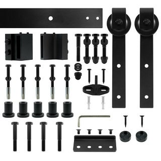 "Miseno MH-BARN72-SQ 72"" Sliding Barn Door Track Set with Square Strap Roller - Flat Black - N/A"