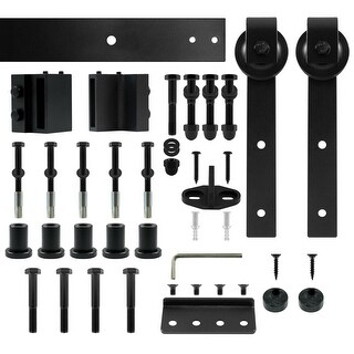 "Miseno MH-BARN96-SQ 96"" Sliding Barn Door Track Set with Square Strap Roller - Flat Black - N/A"