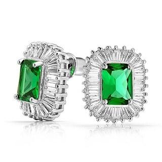 Bling Jewelry Art Deco Style Green CZ Studs Rhodium Plated Brass