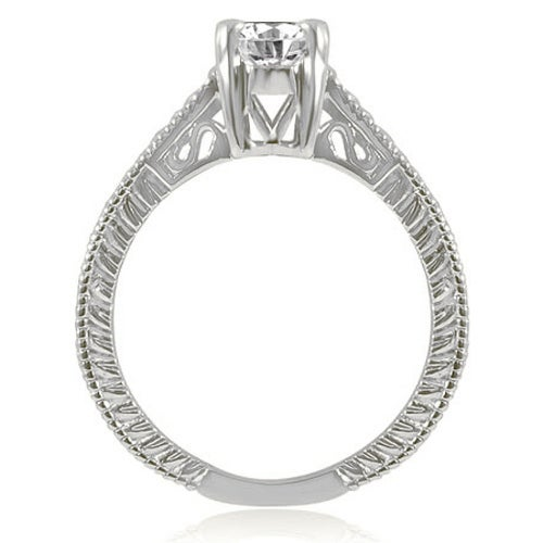 0.75 cttw. 14K White Gold Antique Style Solitaire Diamond Engagement Ring