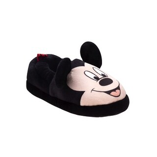 Disney Black Mickey Mouse Plush Slippers Boys