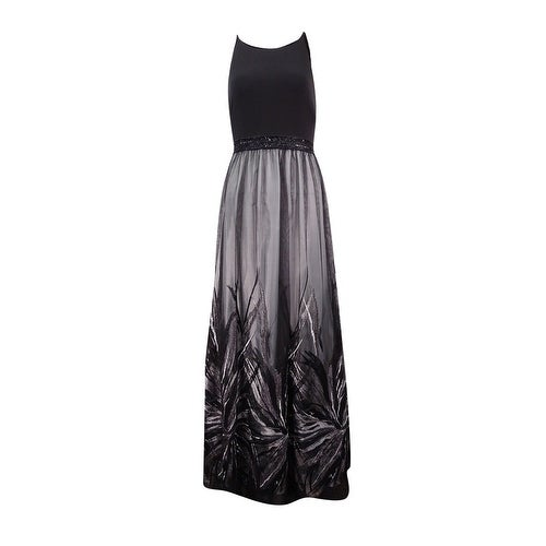 Calvin Klein Womens Embroidered Beaded Jersey Gown - Black/Tin