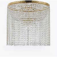 "French Empire Crystal Semi Flush Chandelier Lighting with Crystal Bead Shade / Curtain H26"" X W24"""