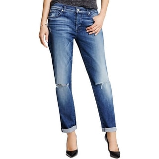 7 For All Mankind Womens Josefina Boyfriend Jeans Denim Destroyed