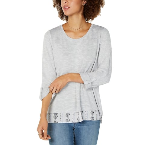 Style & Co Women's Layered-Look Roll-Tab Top Gray Size Small