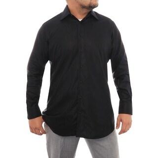Ike Behar Long Sleeve Collared Button Down Men Regular Dress Button