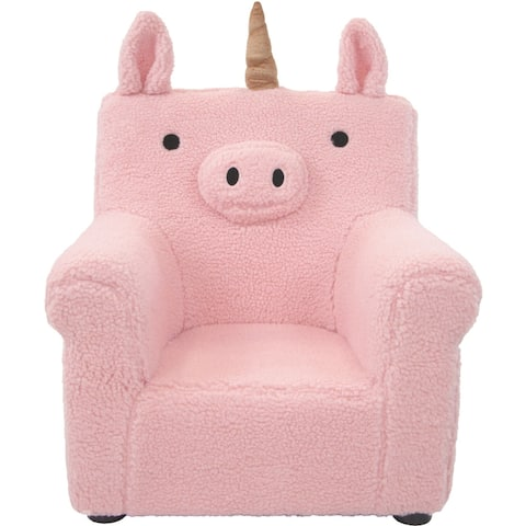 Critter Sitters 20-In. Plush Pink Unicorn Animal Shaped Mini Chair - Furniture for Nursery, Bedroom, Playroom, Living Room