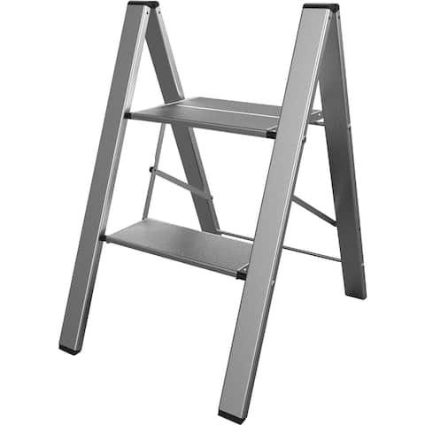 AmeriHome Ultra Slim Aluminum Two Step Folding Utility Step Ladder