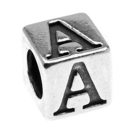 Sterling Silver, Alphabet Cube Bead Letter 'A' 4.5mm, 1 Piece, Antiqued