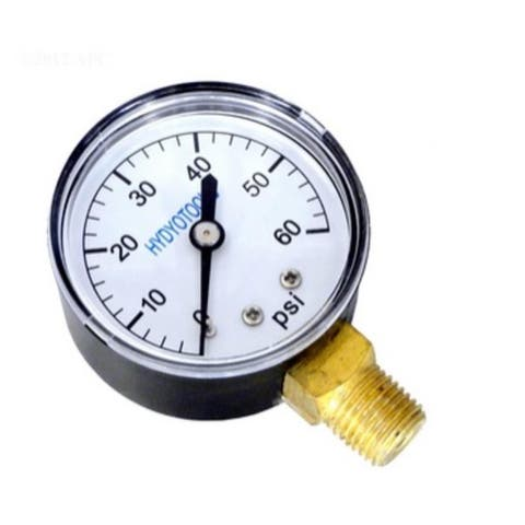 """2.75"""" Black and White 60PSI HydroTools Bottom Mount Pressure Gauge Swimming Pool Filter and Pump Accessory"""