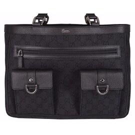 NEW Gucci 268639 Black Denim Abbey Pockets GG Guccissima Handbag Purse Tote
