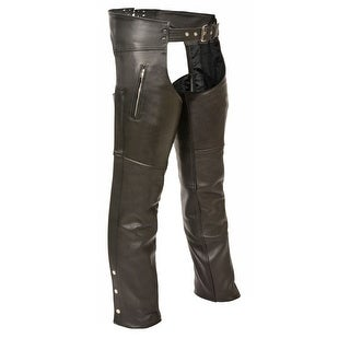 Mens Classic Leather Zippered Thigh Pocket Chaps (More options available)
