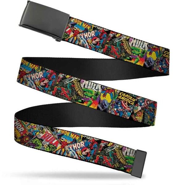 Marvel Comics Blank Black Buckle Retro Marvel Comic Books Stacked Web Belt