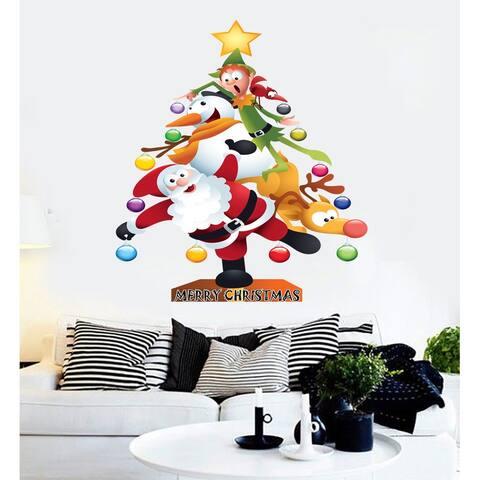 Christmas tree Santa Claus Christmas Deer Wall Decal, Christmas tree Santa Claus Christmas Deer Wall sticker