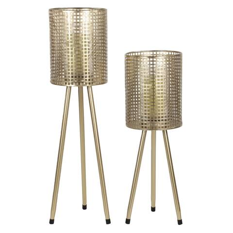 Tall Cylindrical Gold Mesh Metal Candle Holders on Tripod Bases, Set of 2 - 8 x 8 x 30