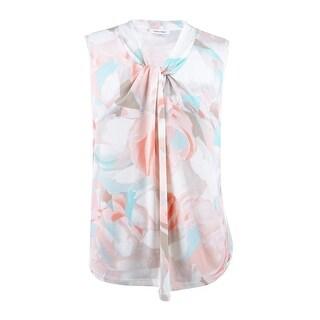 1c2fa85249394 Shop Calvin Klein Women s Plus Size Blurred Floral Knot Neck Top (1X ...